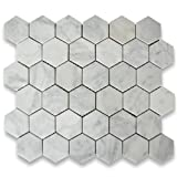 Carrara White Italian Carrera Marble Hexagon Mosaic Tile 2 inch Honed