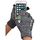 Unisex Knit Touch Screen Gloves, Winter Thick Warm Driving Texting Glove for Man and Women, Non Slip Soft Elastic iPhone Gloves- Pezin & Hulin (Black White)