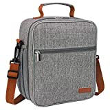 buways Lunch Box, Insulated Lunch Bag for Men, Adults, Women, Durable & Spacious Lunchbox for Work, Picnic, Hiking - 25% LARGER Greater Storage (Grey)
