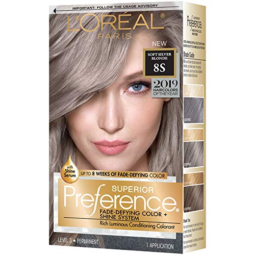 L'oreal Paris Hair Color Superior Preference Fade-defying Plus Shine Permanent Coloring, 8s Soft Silver Blonde (Pack of 1)