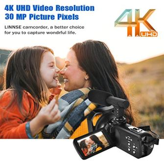 Video-Camera-4K-Camcorder-Vlogging-Camera-with-Microphone-YouTube-Camera-Recorder-Ultra-HD-30MP-30-IPS-Touch-Screen-with-Lens-Hood-2-Batteries