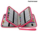 BTSKY Deluxe PU Leather Pencil Case for Colored Pencils - 120 Slot Pencil Holder with Handle Strap Handy Colored Pencil Box Large (Rose Red)