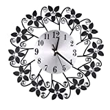 AnzzhonVintage Flower Wrought Iron Diamond Fashion Wall Clock Bedroom Mute Metal Wall Clock Decoration(Black,41X40X8cm)