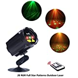 X'mas Outdoor Decoration RGR Laser Light Star Shower Motion Spotlights, IP65 Waterproof Laser Patterns Projector with RF Wireless Remote Decorate for House Garden Lawn Landscape Pool Trees Celebration
