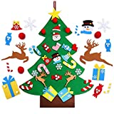 VOSTOR Felt Christmas Tree for Kids, 3.3ft Toddlers Felt Xmas Tree Toy, 3D DIY Felt 26pcs Detachable Ornaments, Wall Decor Door Hanging New Year Decoration