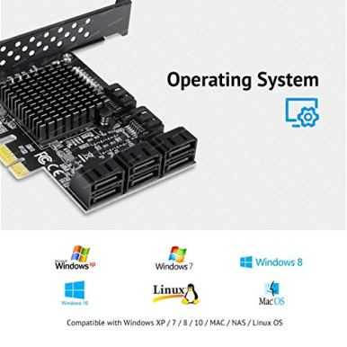 SupaHub-8-Ports-PCIe-SATA-Card-PCIe-x1-Non-Raid-Controller-Card-for-SATA-III-6G-Hard-Drives-Includes-8-SATA-Cables-and-2-SATA-Power-Splitter-Cables-Boot-as-System-Disk