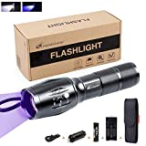 Dual-Use LED UV Blacklight Kit - Moobibear 2-In-1 Waterproof Ultraviolet LED Flashlight, Zoomable Torch with Rechargeable Battery For Hiking,Pet Urine & Stain Detector,Find Stains on Cloth/Carpet
