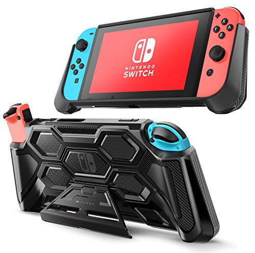 Mumba Protective Case for Nintendo Switch, [Battle Series] Heavy Duty Grip Cover for Nintendo Switch Console with Comfort Padded Hand Grips and Kickstand (Black)