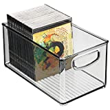 mDesign Stackable Plastic Storage Bin Container with Handles for Home Office - Holds Gel Pens, Erasers, Tape, Pens, Pencils, Markers, Notepads, Highlighters, Staplers - 5' High - Smoke Gray