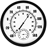 PandaCoCo 10' Indoor Outdoor Weather Thermometer / Hygrometer for Patio, Wall Decorative, No Battery Needed
