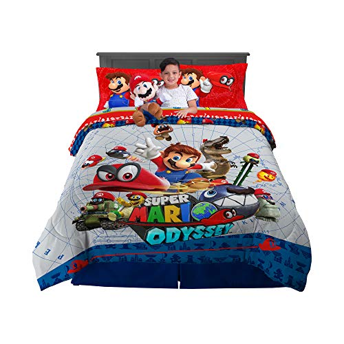 Franco Kids Bedding Super Soft Comforter with Sheets and Cuddle Pillow Bedroom Set, 6 Piece Full Size, Mario Odyssey