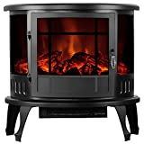 KUPPET 33' Standing & Wall Mounted Electric Fireplace Space Heater with Bracket and Glass in Rooms Stove Simulation Flame, Cobblestone, Adjustable Heater, with Remote, 750W-1500W, Black