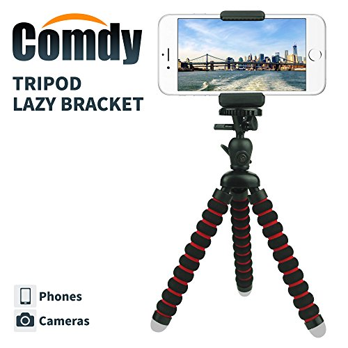 COMDY rrx-697 Mini Cell Phone Tripod Stand, Flexible Mobile Phone Holder, Octopus Mount for iPhone, Samsung, Camera - Black and Red