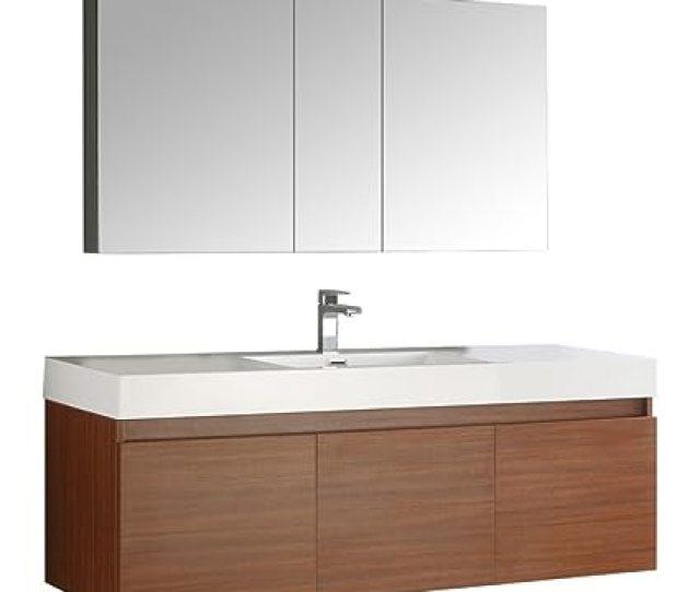 Fresca Mezzo 60 Teak Wall Hung Single Sink Modern Bathroom Vanity With Medicine Cabinet Amazon Com