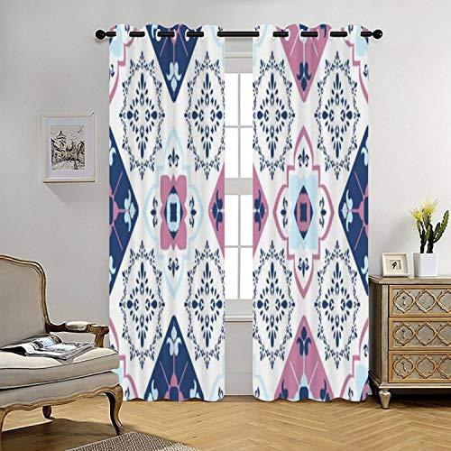 Blue Pink Geometric Curtains