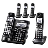 PANASONIC Cordless Phone System with Answering Machine, One-Touch Call Block, Enhanced Noise Reduction, Talking Caller ID and Baby Monitor - 5 Handsets - KX-TGF545B (Black)