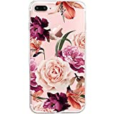 iPhone 7 Plus&8 Plus Case,Floral Pattern Clear TPU Case for iPhone 8 Plus (2)