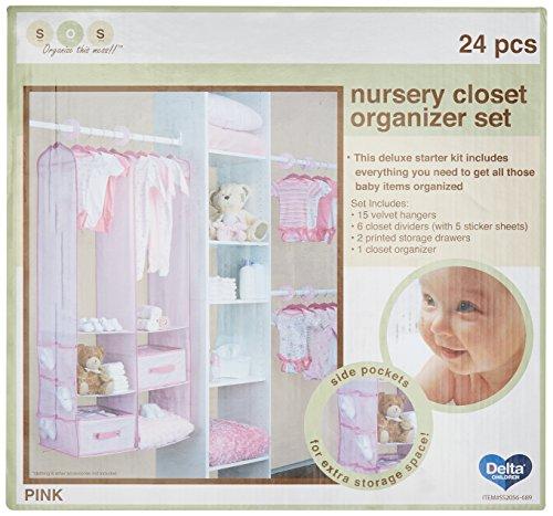 Delta Children Nursery Closet Organizer, Pink, 24 Piece