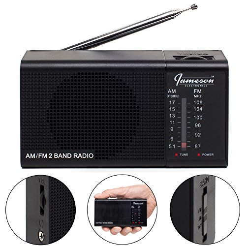 AM FM Portable Radio // Pocket Radios - Best Reception, Small Battery Operated Cordless Personal Transistor, Loud Built-in Speaker, 3.5mm Mono Headphone Jack - Powered by 2 AA Batteries (Black)