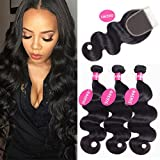 DACHIC 8A Brazilian Body Wave Human Hair 3 Bundles with Closure 100% Brazilian Hair Bundles with 4x4 Lace Closure Free Part Natural Color (12 12 12+10)