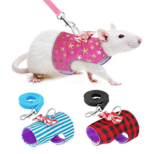 Stock Show Small Pet Outdoor Walking Harness Vest and Leash Set with Cute Bowknot Decor Chest Strap Harness for Rabbit Ferret Guinea Pig Bunny Hamster Puppy Kitten Clothes Accessory 1