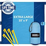 Outdoorsman Lab Sand Free Beach Blanket | Water Repellant Sand Proof Beach Mat | 10'x9' Parachute Nylon for Picnics, Camping, Concerts | 6 Sand Pockets, 4 Pegs, Carrying Bag & Strap