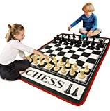 EasyGo Giant 3' X 4' Mat Chess Game - Indoor Outdoor Family Game - Lawn Game -Piece Range from 3-6' Tall