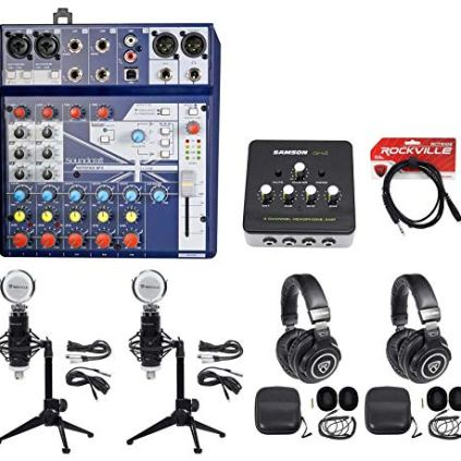 2-Person-Podcasting-Podcast-Bundle-wSoundcraft-MixerHeadphonesMicDesk-Stand