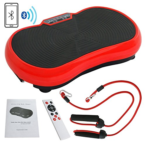 HomGarden Crazy Fitness Vibration Fit Machine Plate Platform Massager - Whole Full Body Shape Exercise Machine Workout Trainer Slim w/Bluetooth, Red