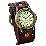 JewelryWe Gifts for Him Vintage Leather Strap Wide Band Wristwatch Cuff Quartz Watch for Men - Brown