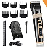 Professional Electric Hair Clippers For Men, Household USB LED Display Rechargeable, Best Hair Trimmer For Boy & Kids, Hair Cutting Cape Gift Set Haircut Kit