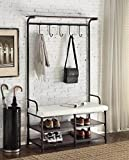 """Black Metal and White Bonded Leather Entryway Shoe Bench with Coat Rack Hall Tree Storage Organizer 5 Hooks - 40.5"""" Wide Bench"""