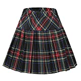 Urban CoCo Women's Elastic Waist Tartan Pleated School Skirt (Series 18, 2XL)