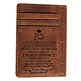 Engraved Pocket Wallet To My Son Dad Husband, Personalized Gift Slim Cards Case Money Clips (Chocolate-To My Dad From Daughter)