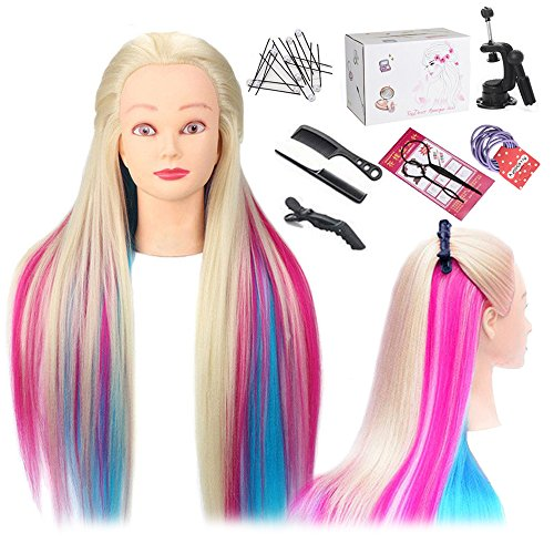 Mannequin Head, TopDirect 29 Inch Long Colorful Hair Cosmetology Mannequin Head Hair Styling Hairdressing Practice Training Doll Heads with Clamp Holder and Tools