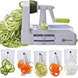 Brieftons 5-Blade Spiralizer (BR-5B-02): Strongest-and-Heaviest Duty Vegetable Spiral Slicer, Best Veggie Pasta Spaghetti Maker for Low Carb/Paleo/Gluten-Free, With Extra Blade Caddy & 4 Recipe Ebooks