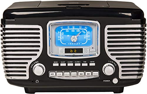 Crosley Corsair Tabletop Am/FM Bluetooth Radio with CD Player and Dual Alarm Clock, Black