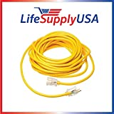 14/3 200ft SJTW Full Copper 15 Amp 300 Volt 1625 Watt Lighted End Indoor/Outdoor Extension Cord (200 feet) by LifeSupplyUSA