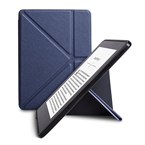 WALNEW New Origami Case Cover for Amazon Kindle Voyage (November 2014) - Full Device Protection with PU Leather and Smart Auto Sleep Wake Function(Darkblue-Origami Cover)