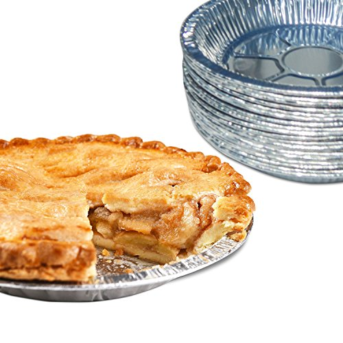 Premium 9' Aluminum Foil Pie Pans. Disposable Tin Plates for Pies Tart Quiche. (Pack of 50)