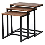 Framodo 3pc Stacking Nesting Coffee Table Set of 3 End Side Tables Set Living Room Sofa Snack Table Brown