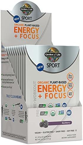 Garden of Life Sport Organic Pre Workout Energy Plus Focus Vegan Energy Powder, BlackBerry, 12 Count 3
