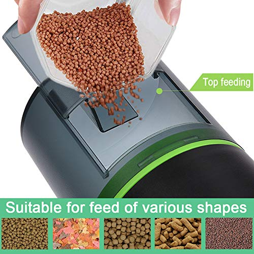 TOPBRY Automatic Fish Feeder,【Upgraded Version】 Digital Auto Fish Turtle Feeder for Aquarium and Fish Tank, USB Rechargeable Timer Fish Feeder Fish Food Dispenser 5