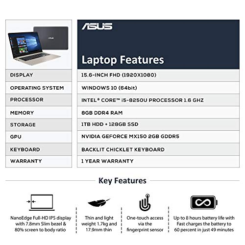 ASUS VivoBook S15 S510UN-BQ070T Intel Core i5 8th Gen 15.6-inch FHD Thin and Light Laptop (8GB RAM/1TB HDD + 128GB SSD/Windows 10/2GB NVIDIA GeForce MX150 Graphics/FP Reader/Backlit KB/1.70 Kg), Gold 7