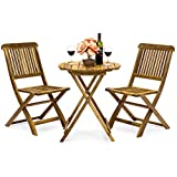 Best Choice Products 3-Piece Acacia Wood Folding Patio Bistro Set for Backyard, Balcony, Porch, Deck with 2 Chairs, Round Coffee Table, Natural