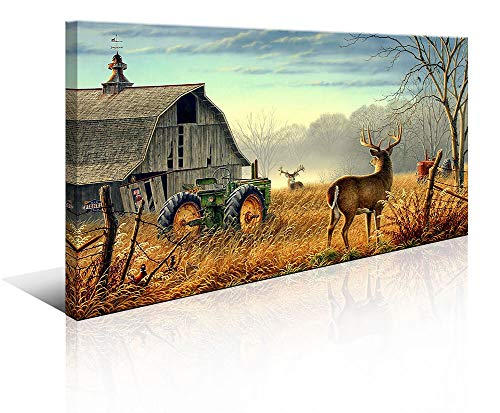 Tractor Farm Deer Wall Art