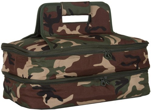 Ever Moda Thermal Insulated Casserole Carrier Bag with 2 Compartments, Camo Green
