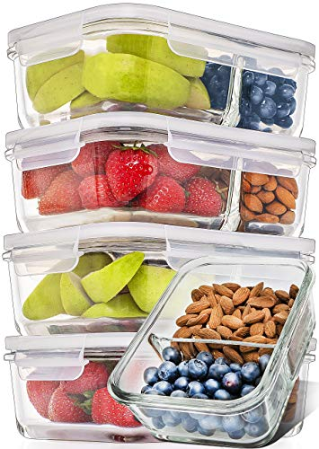 Prep Naturals Glass Meal Prep Containers Glass 2 Compartment 5 Pack - Glass Food Storage Containers - Glass Storage… 1