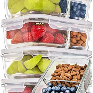 Prep Naturals Glass Meal Prep Containers Glass 2 Compartment 5 Pack - Glass Food Storage Containers - Glass Storage… 5
