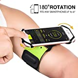 VUP Running Armband, Sport Armband 180° Rotatable for iPhone X/ 8 Plus/ 8/7 Plus/ 6S Plus/ 6, Galaxy S9 Plus/ S9/S8 Plus/ S7 Edge/ S6, Note 8, Google Pixel, Ideal for Cycling Hiking Gym (Green, XL)